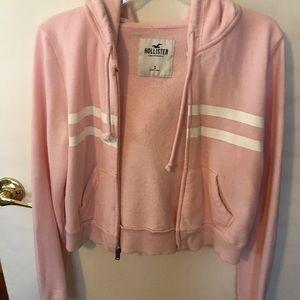 Pink cropped Hollister hoodie